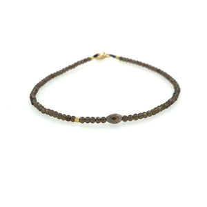 Smokey Quartz + Diamond + 18k Bead Bracelet