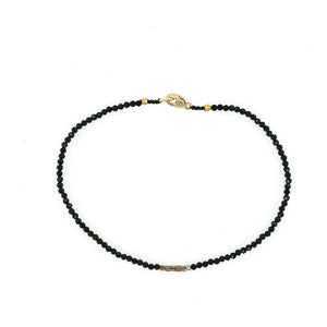 Black Spinel + Cognac Diamond Square Bead Bracelet