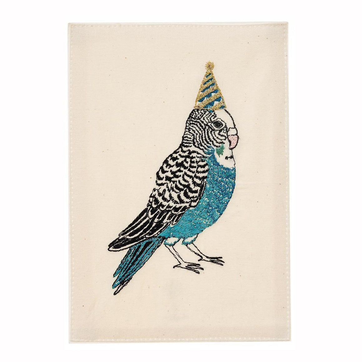 Birthday Hat Parakeet Embroidered Card