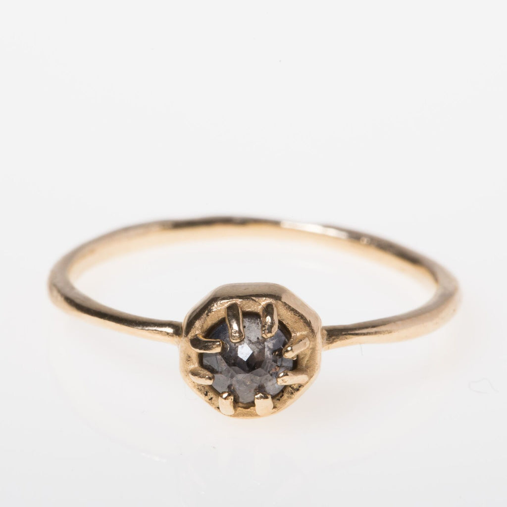 14K Baby Octagonal Grey Diamond Ring