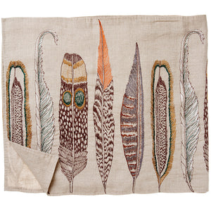 Embroidered Linen Feather Table Runner