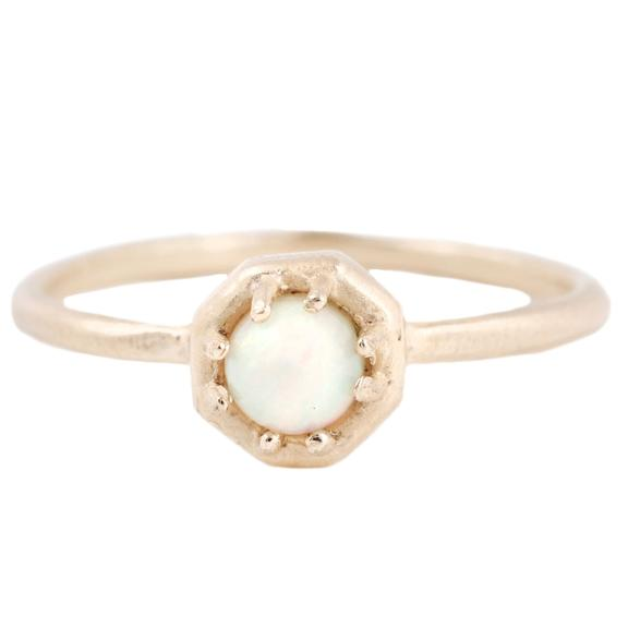 Tiny Octagonal Opal Ring - KESTREL