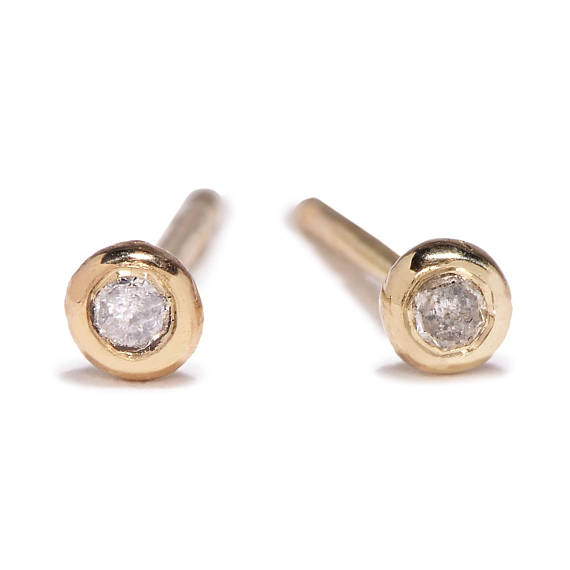 Tiny 14K Salt + Pepper Diamond Studs