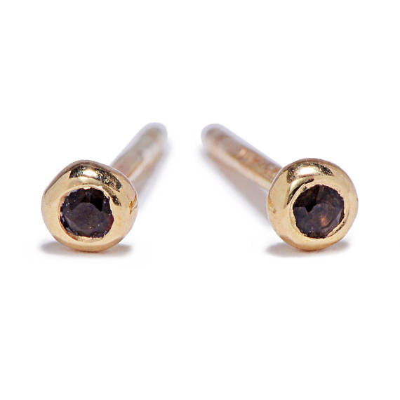 Tiny 14K Smoky Quartz Studs