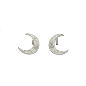 Silver Tiny Crescent Moon Studs