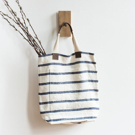 Deep Striped Linen Tote - Blue - KESTREL