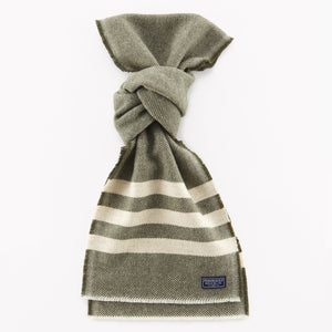 Trapper Wool Scarf (Olive/Cream)