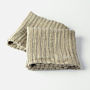 Black Striped Linen Kitchen Towel - KESTREL