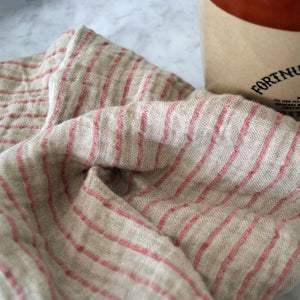 Red Striped Oversized Linen Kitchen Towel - KESTREL