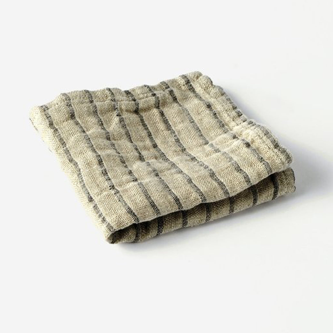 Black Striped Linen Wash Cloth - KESTREL