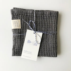 Waffle Linen Wash Cloth - Dark Grey - KESTREL