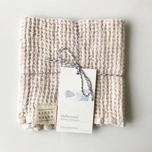 Waffle Linen Wash Cloth - Natural - KESTREL
