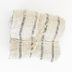 Black Striped Linen Wash Cloth