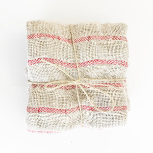 Red Striped Linen Wash Cloth