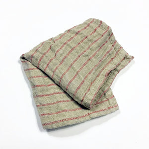 Red Striped Linen Wash Cloth - KESTREL