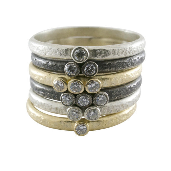 Weathered Triple Diamond Stack Ring - KESTREL