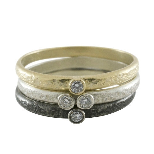 Weathered Double Diamond Stack Ring - KESTREL