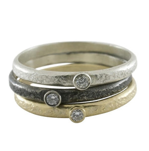 Weathered Single Diamond Stack Ring - KESTREL