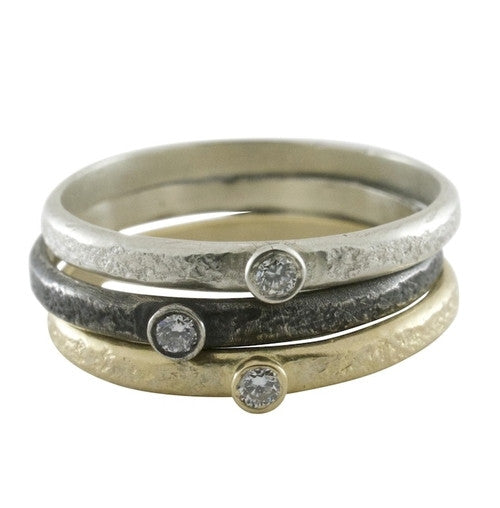 Weathered Single Diamond Stack Ring