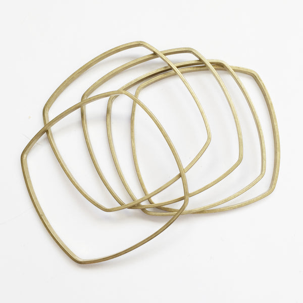Wide Brass Bangle Set