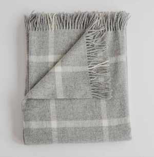 Merino Lambswool Throw - Windowpane Fog
