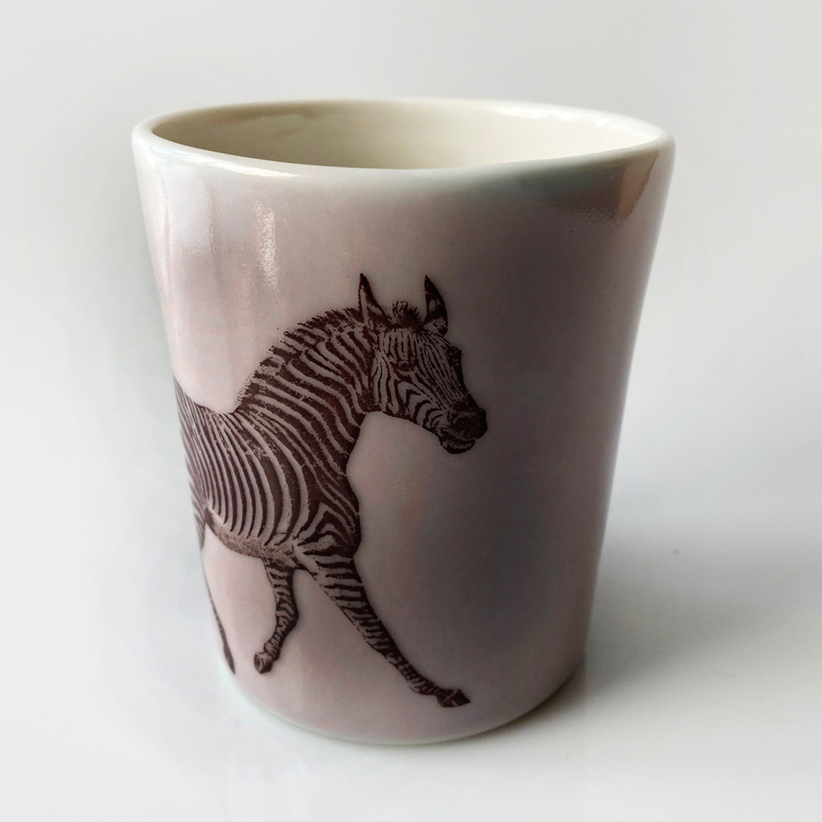 12oz Porcelain Animal Tumbler (Zebra)