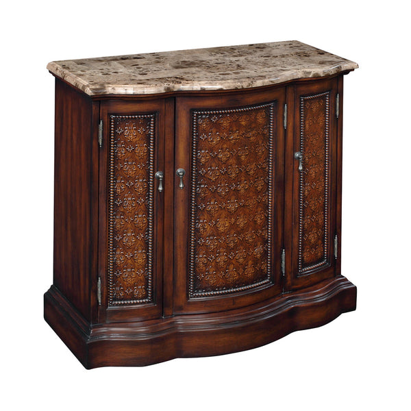 Brown Cherry Three-Door Cabinet