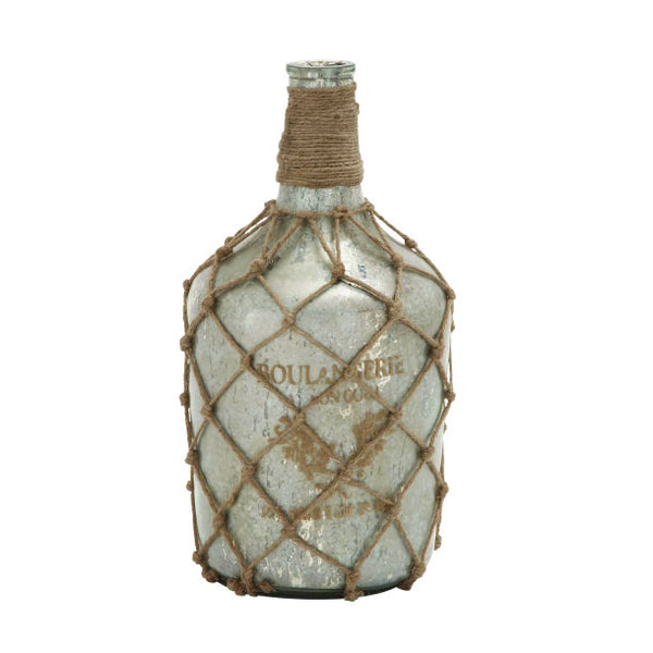 Mercury Glass Jute Bottle Vase 24760 | UMA Enterprises