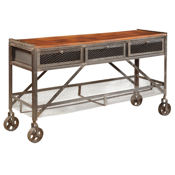 Mango Wood and Pewter Console Table