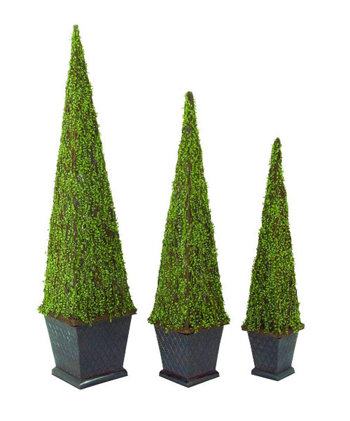 Faux Boxwood Pyramid Topiary, set of three 45755 | UMA Enterprises