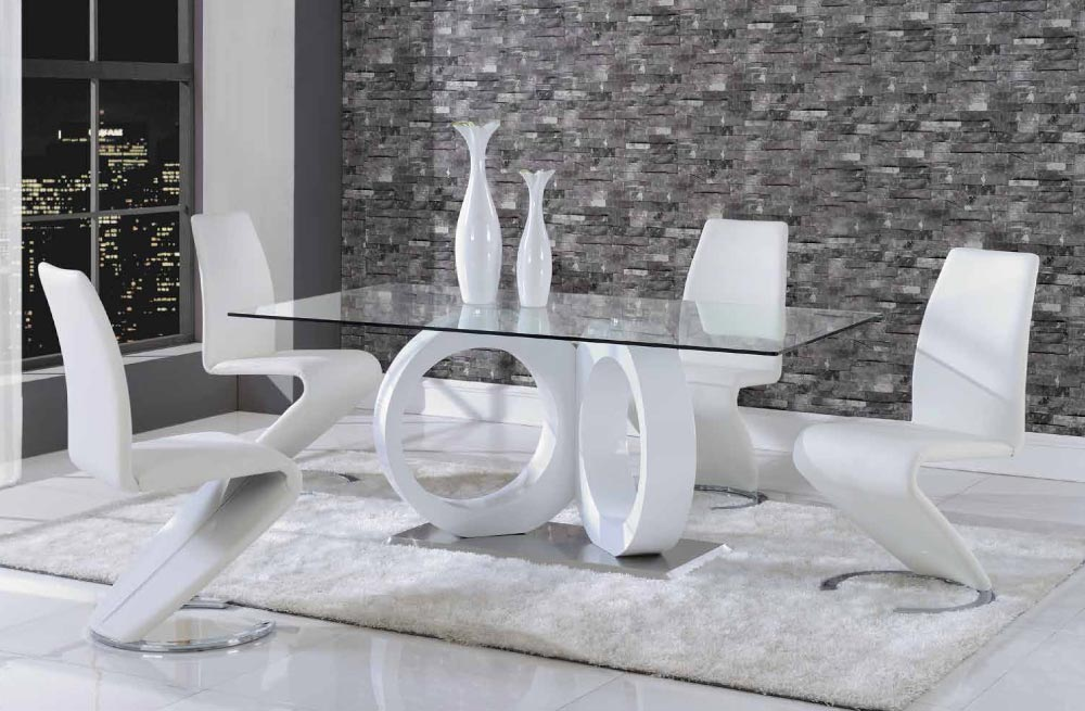 D9002 White Five Piece Dining Set | Global Furniture