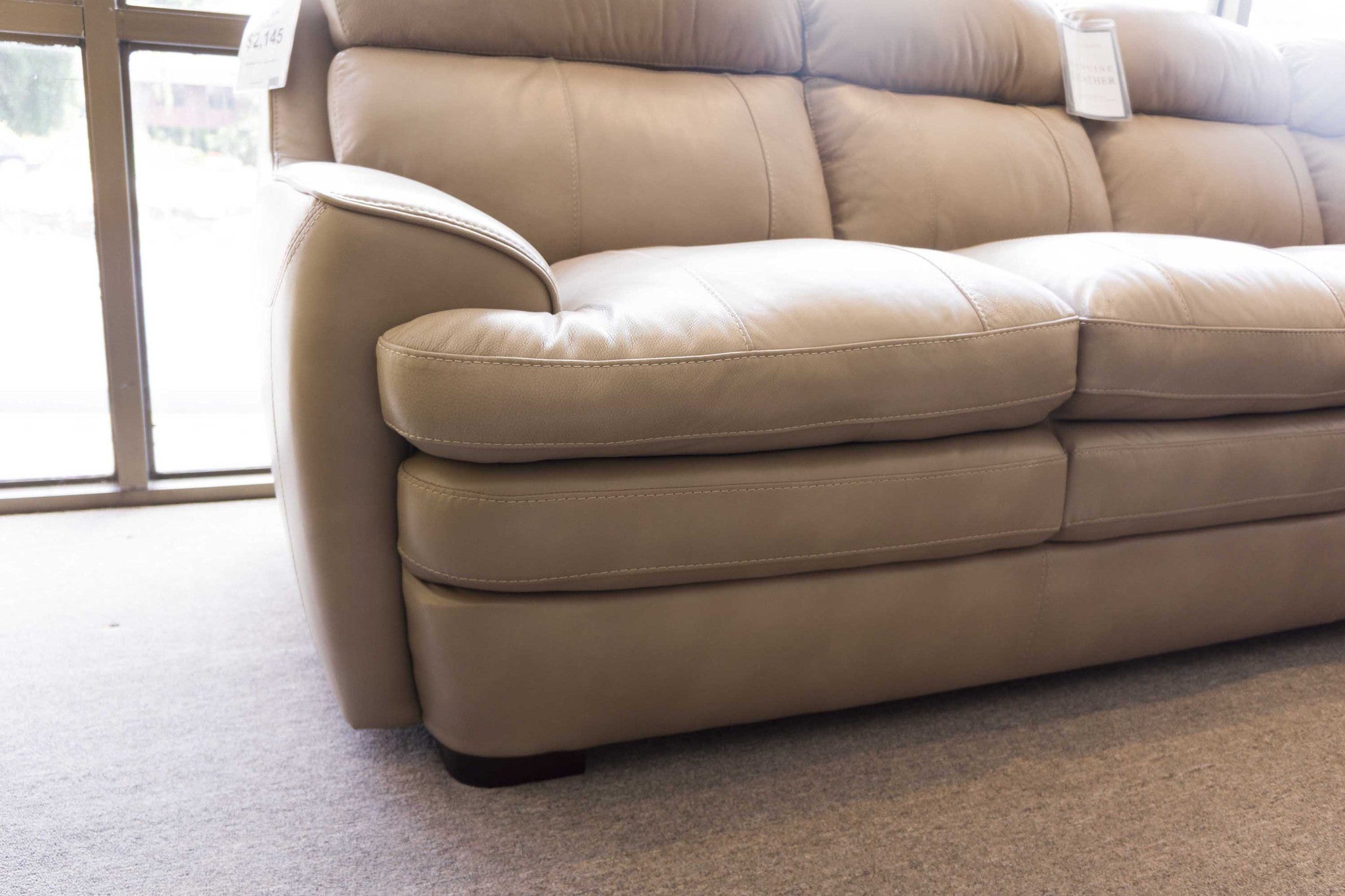3702 Leather Sectional in Taupe Violino Limited Gallery