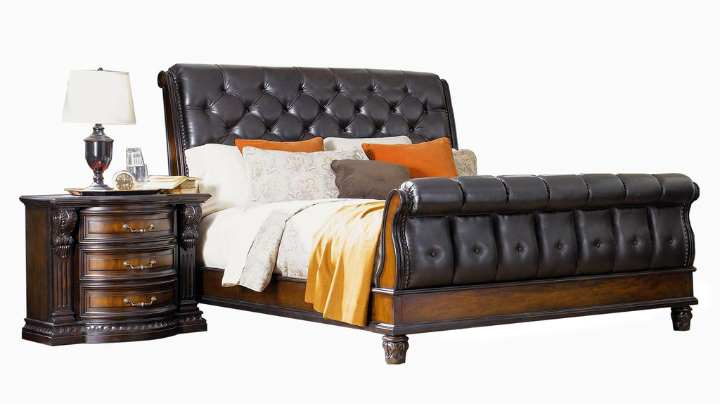 Grand Estates Leather Sleigh Bed | Fairmont Designs