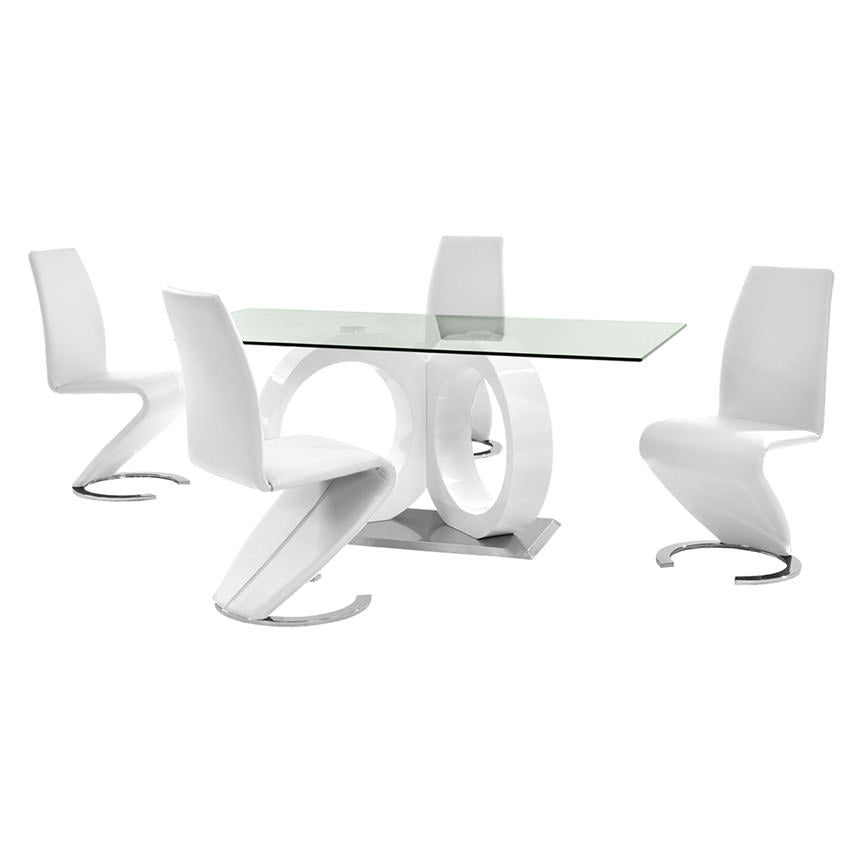 D9002 White Five Piece Dining Set | Global Furniture ...