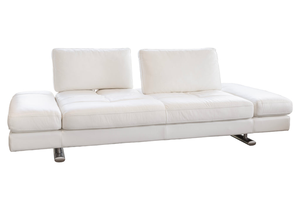 1372 Movable Back Sofa - White Leather | Kuka Home