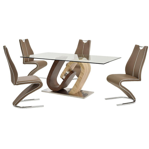 D4216 Oak and Walnut Five Piece Casual Dining Set | Global Furniture