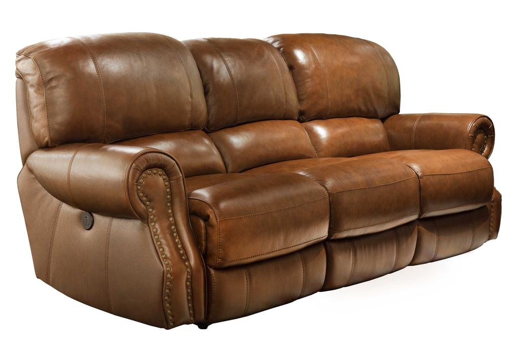 31004 Power Recliner Leather Sofa - Brown