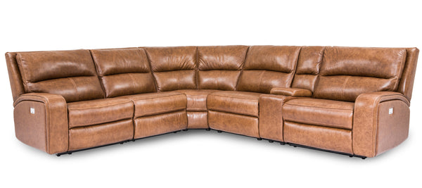 UX5168HM Leather Sectional - Brown