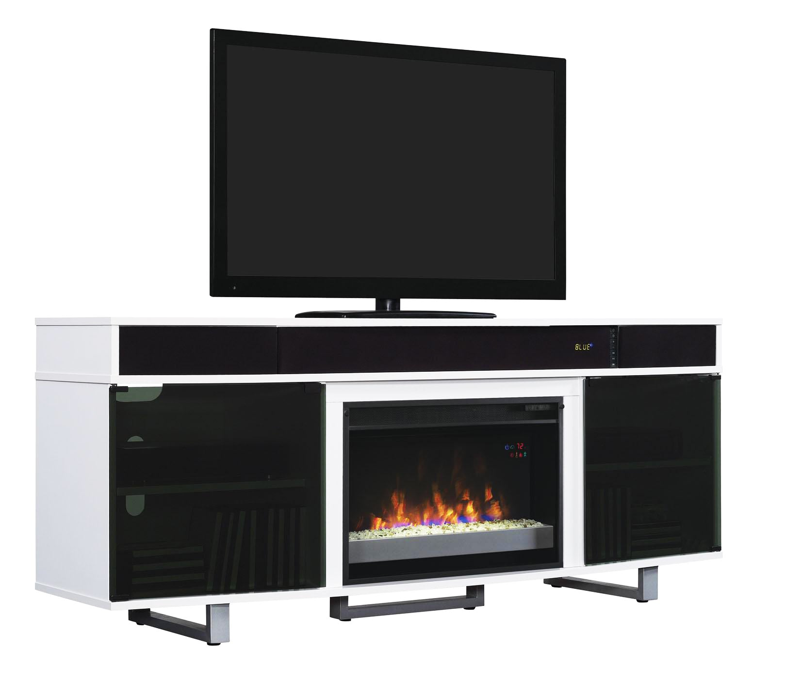 Enterprise White Tv Stand With Fireplace And Sound Bar Classic