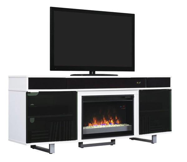 Enterprise White TV Stand With Fireplace and Sound Bar | Classic Flame by Twin Star