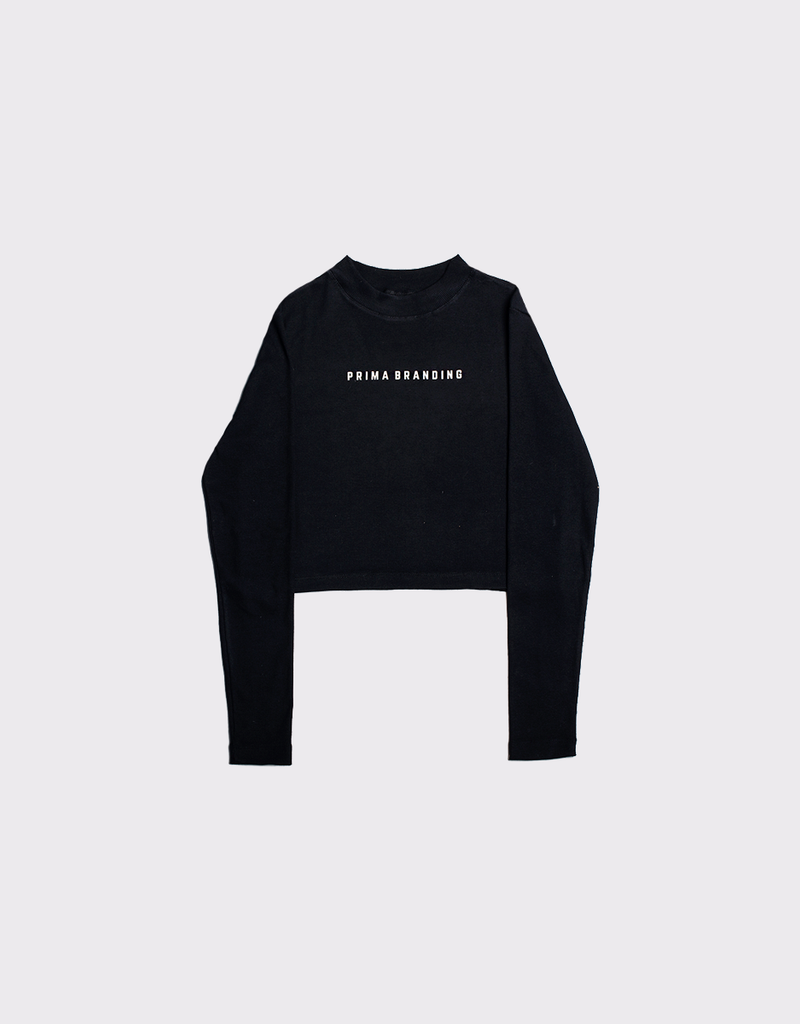 Cropped Long Sleeve Black Logo Prima Branding
