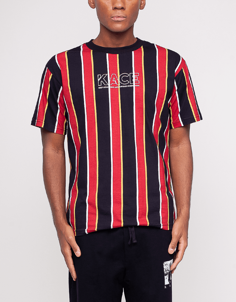 Kace Logo Men's Vertical Stripes T-Shirt