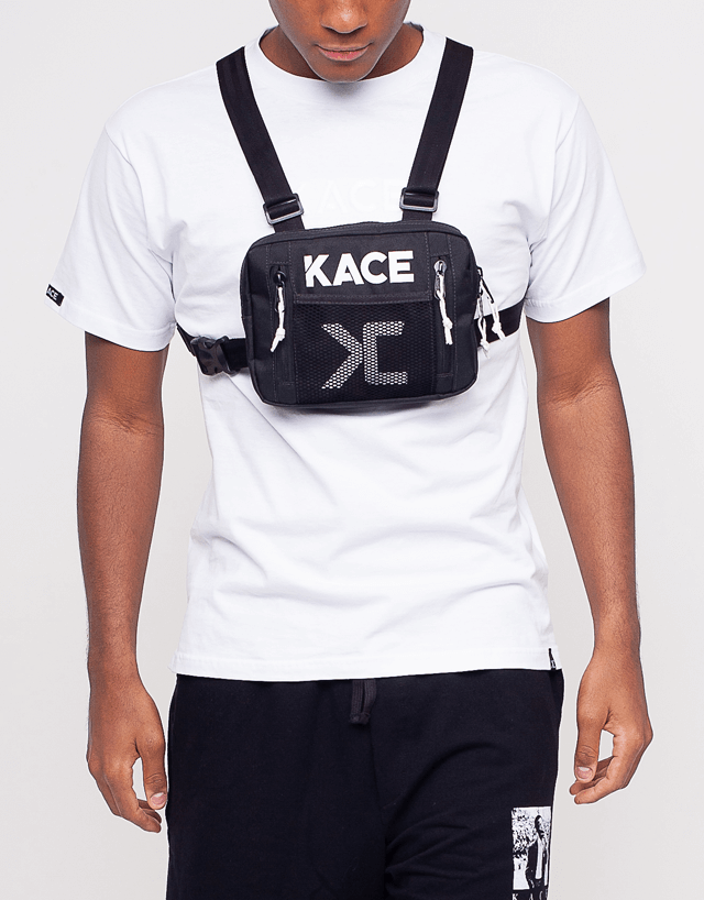 Chest Bag Frontal Preta Kace com logo refletiva