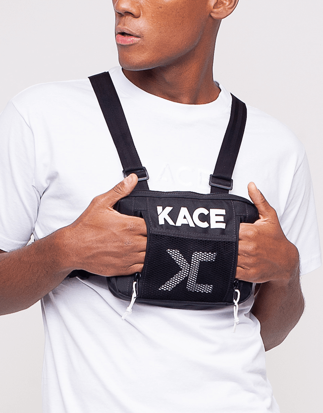 Black Kace Front Chest Bag with reflective logo