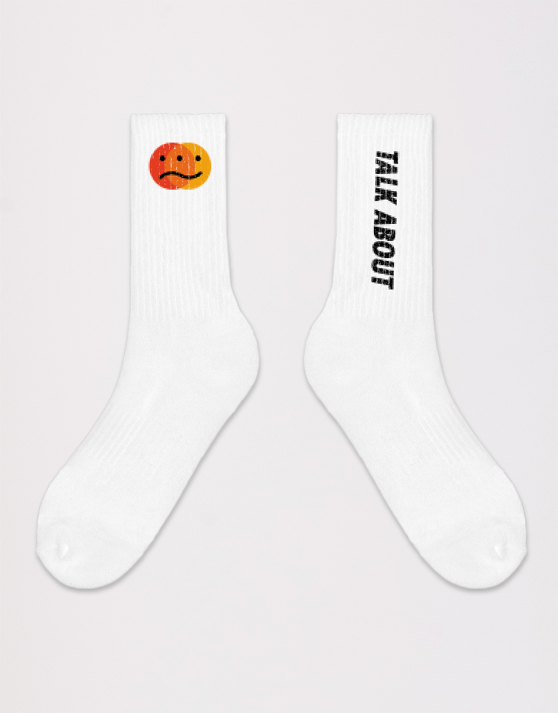 Kace Mental Health White Long Socks