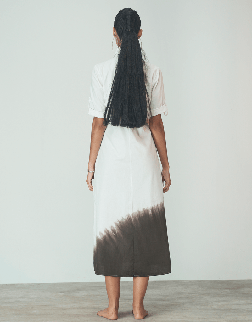 Vestido Maxi Shirt Off White Kace