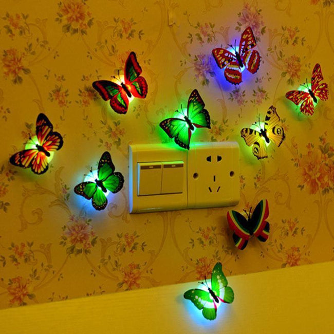 led party 7 Colorful Butterfly Lamp Night light moon lamp wall sticker home decoration accessories Z262-American Aura