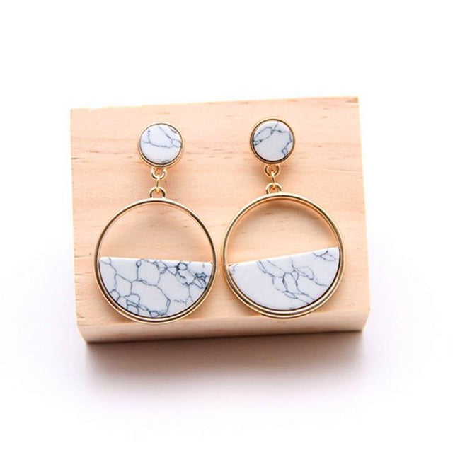 Handmade long marble geometric earrings-American Aura