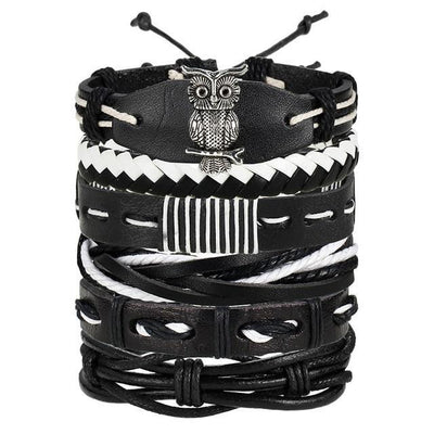 IF ME Vintage Multilayer Leather Bracelet For Men-American Aura
