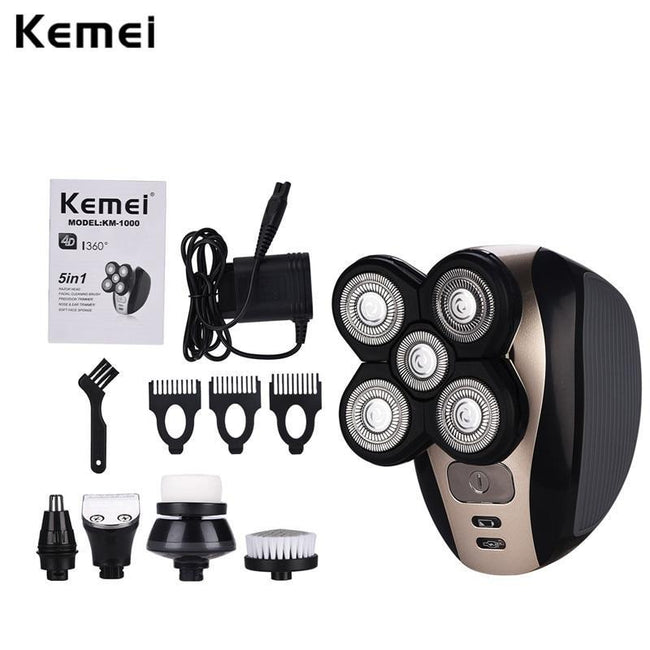 Kemei Electric Shavers 5D Floating Heads Washable Beard Trimmer Razor Multifunction Hair Clipper Rechargeable Shaving Machine-American Aura